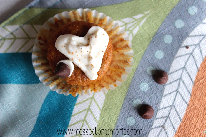 Mini Pumpkin Chocolate Chip Muffins with Whipped Cream Cheese from Messes to Memories