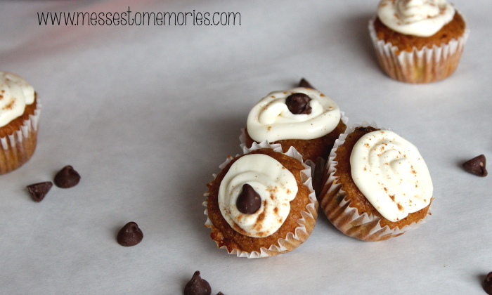 Yummy Mini Pumpkin Chocolate Chip Muffins with Whipped Cream Cheese from Messes to Memories