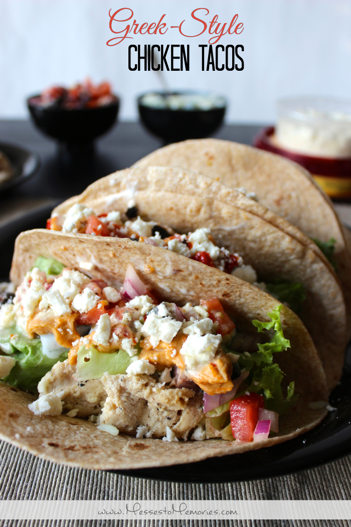 A healthy and flavorful Greek-Style Chicken Taco from Messes to Memories