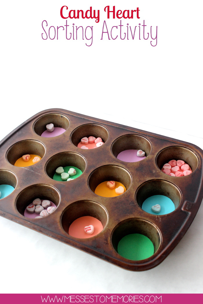 Candy Heart Sorting Activity from Messes to Memories
