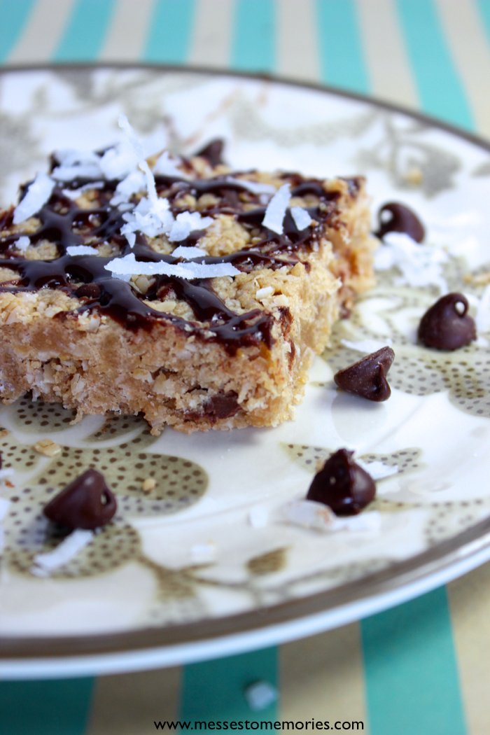Peanut Butter Coconut Chocolate Chip Cookie Bar from Messes to Memories