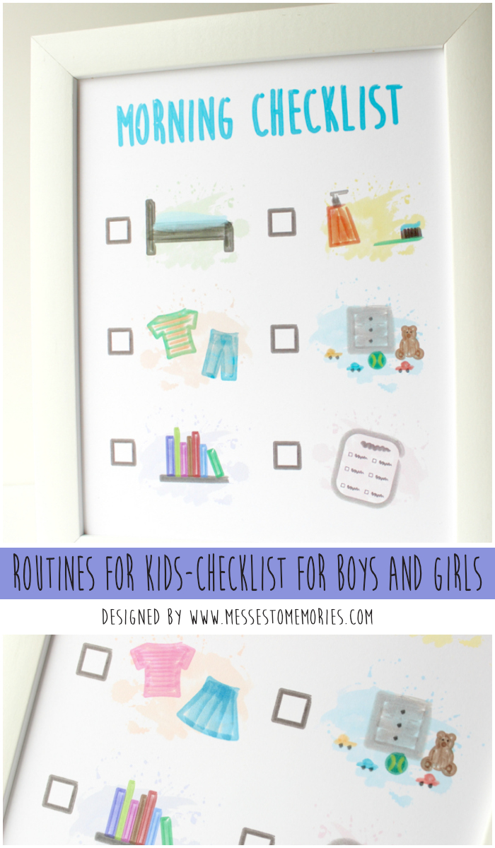 Free printable Morning Checklist for boys and girls from Messes to Memories