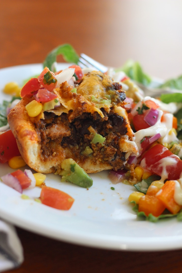 Taco Muffins - - A delicious roll, filled with taco meat and topped with your favorite Taco toppings!