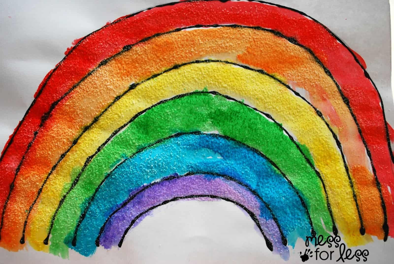 Black Glue And Salt Watercolor Rainbow