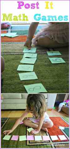Post It Math Games   Get Ready for K Through Play   Mess for Less Children learn basic math concepts from fun math games you can make with  Post Its