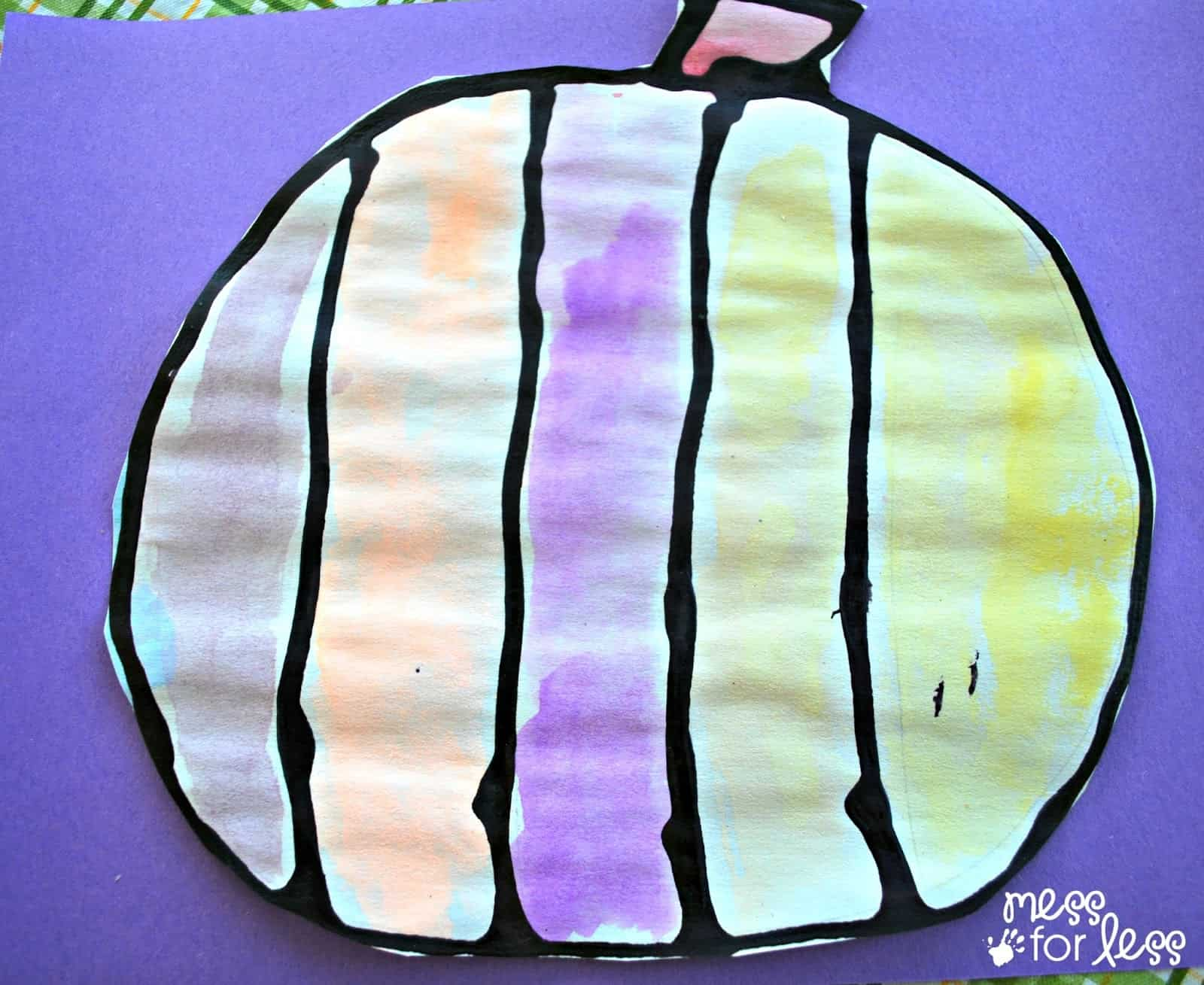 Halloween Crafts For Kids Black Glue And Watercolor