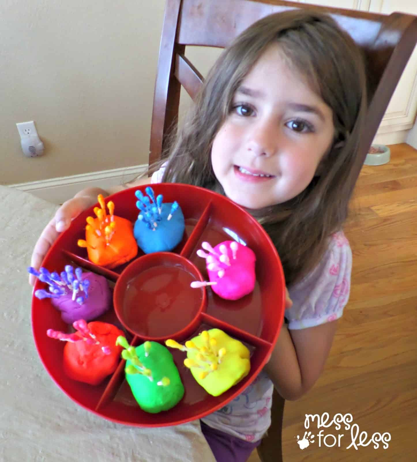 Fine Motor Activity With Playdough And Q Tips
