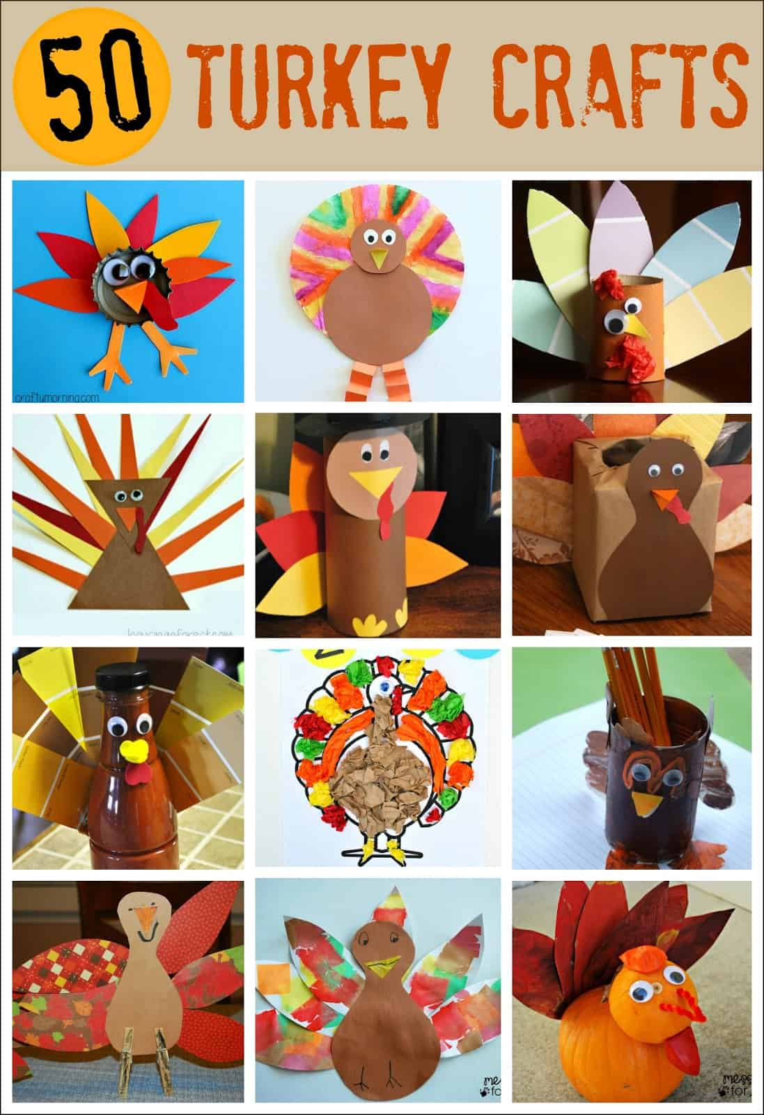 50 Turkey Thanksgiving Crafts