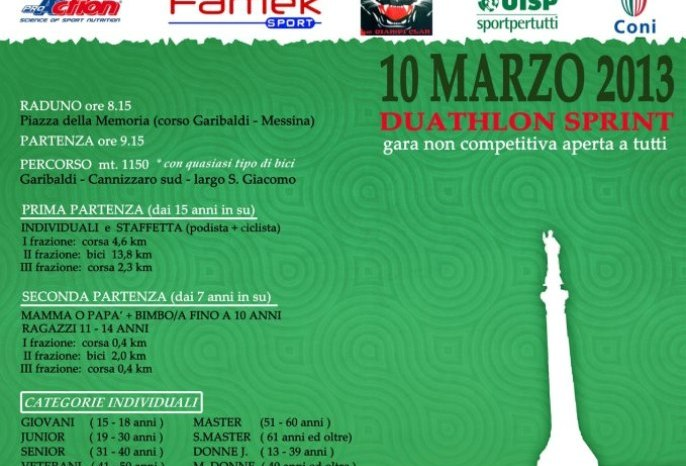 "Duathlon: domenica 10 ""Corri...per Messina"""
