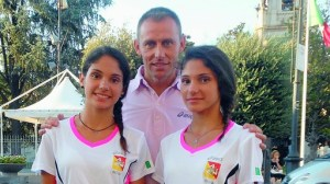 le gemelle Vassallo con il Direttore Tecnico Stefano Baldini
