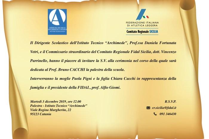 Dedicata a Bruno Cacchi la palestra dell'Archimede di Catania