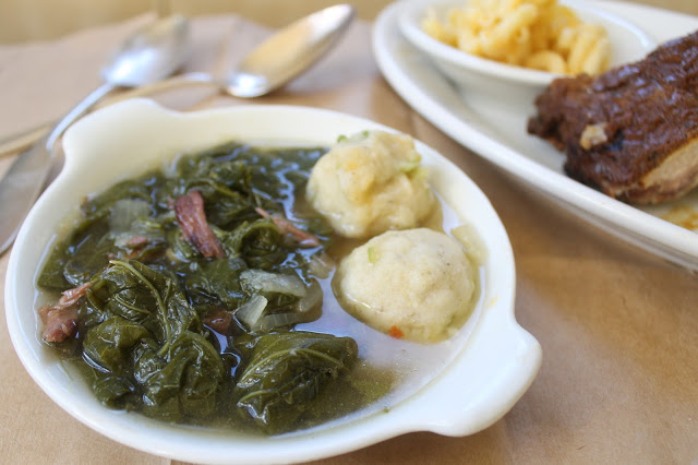 Greens with Spicy Pot Likkor and Cornmeal Dumplings