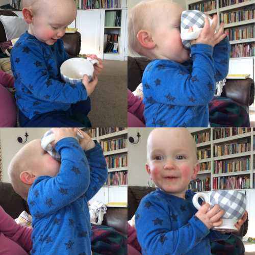 Toddler drinking from a cup