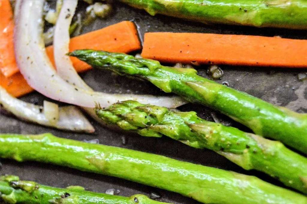 Honey Garlic Carrots and Asparagus close