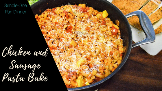 Chicken and Sausage Pasta Bake Title
