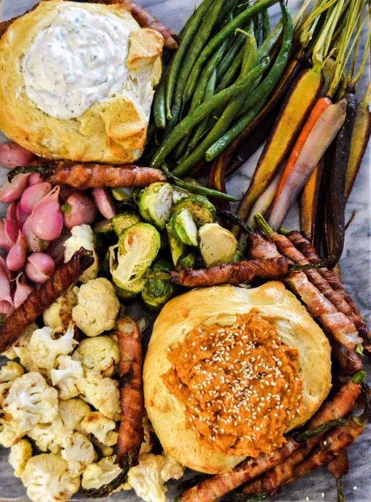chipotle pumpkin humus full platter