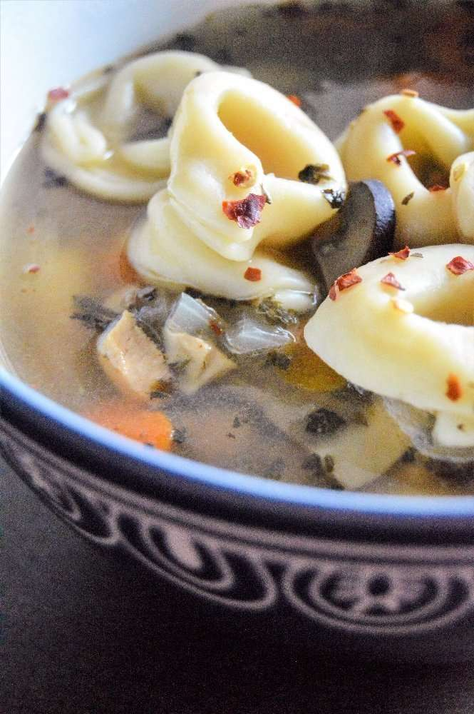 Turkey Tortellini Soup Upclose