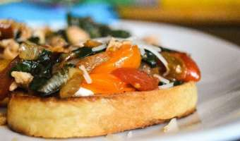 Turkey Tomato Spinach and Garlic Crostini