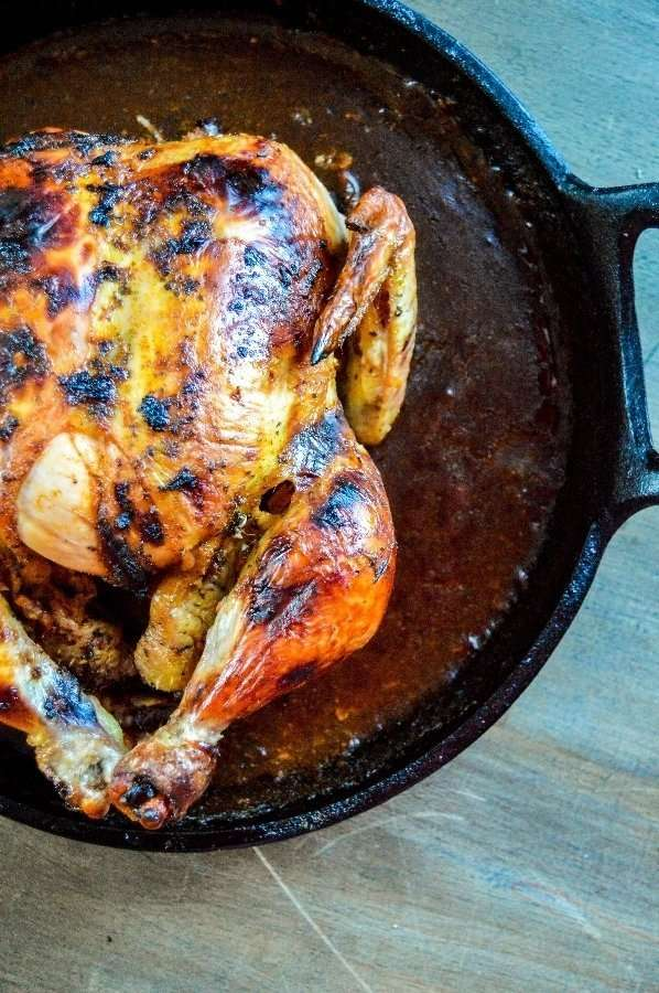Chili Butter Roasted Chicken over head top