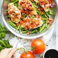 Easy Skillet Bruschetta Chicken and Asparagus   Whole 30