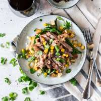 Seared Steak with Corn, Poblano, and Roasted Potato Hash