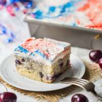 Cherry Vanilla Cake with Red, White, & Blue Swirl Frosting