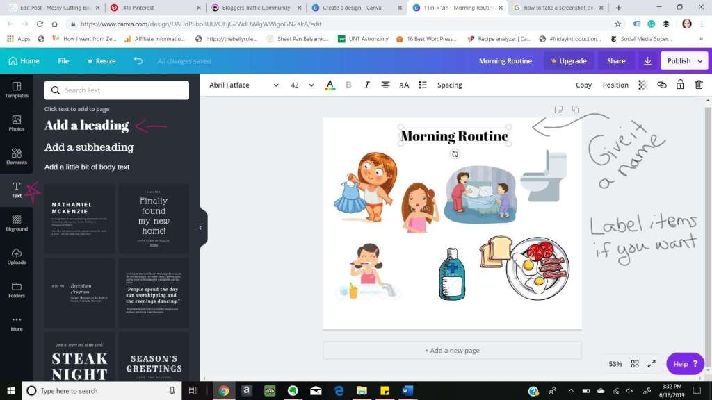 How to Morning Vs Night Routine Canva Size Text
