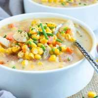 Instant Pot Potato Corn Chowder   Vegan