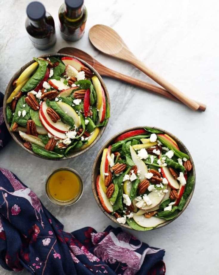 Apple and Pear Spinach Salad with Honey Lemon Ginger Vinaigrette