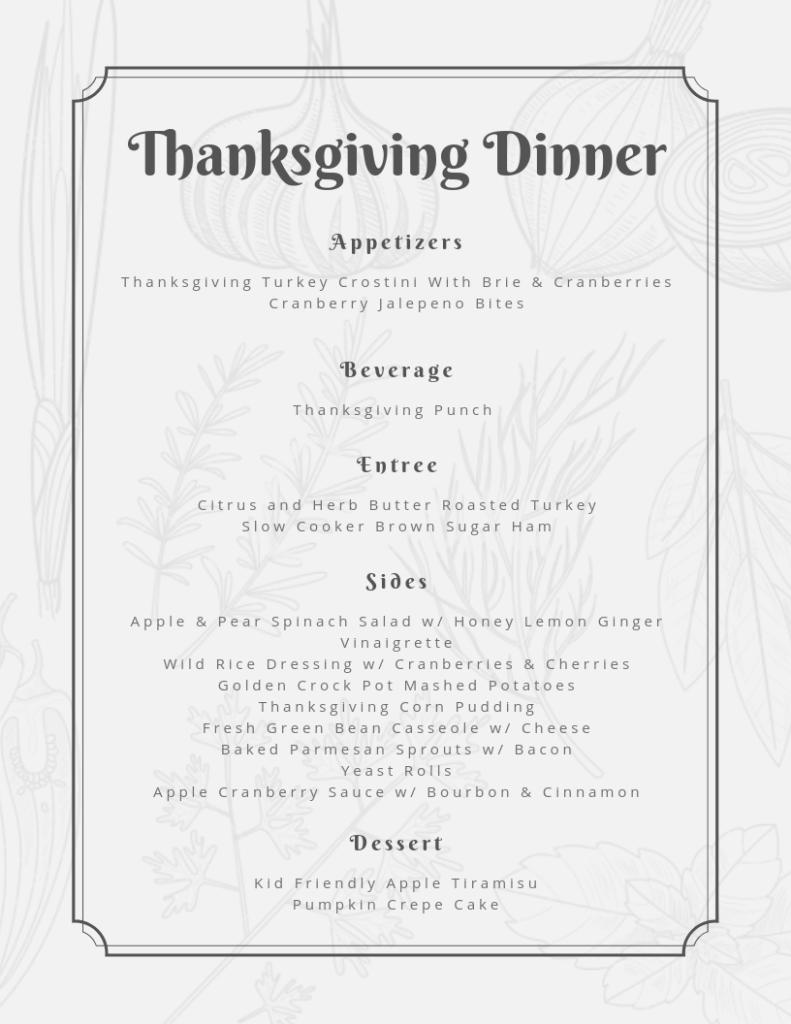 Menu Preview for Crowd-Pleasing Thanksgiving Dinner Menu