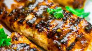 Grilled salmon served with a delicious tamarind and honey glaze