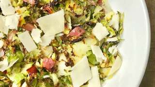 21 Day Fix Crispy Shaved Brussels Sprouts with Bacon, Parmesan, and Balsamic