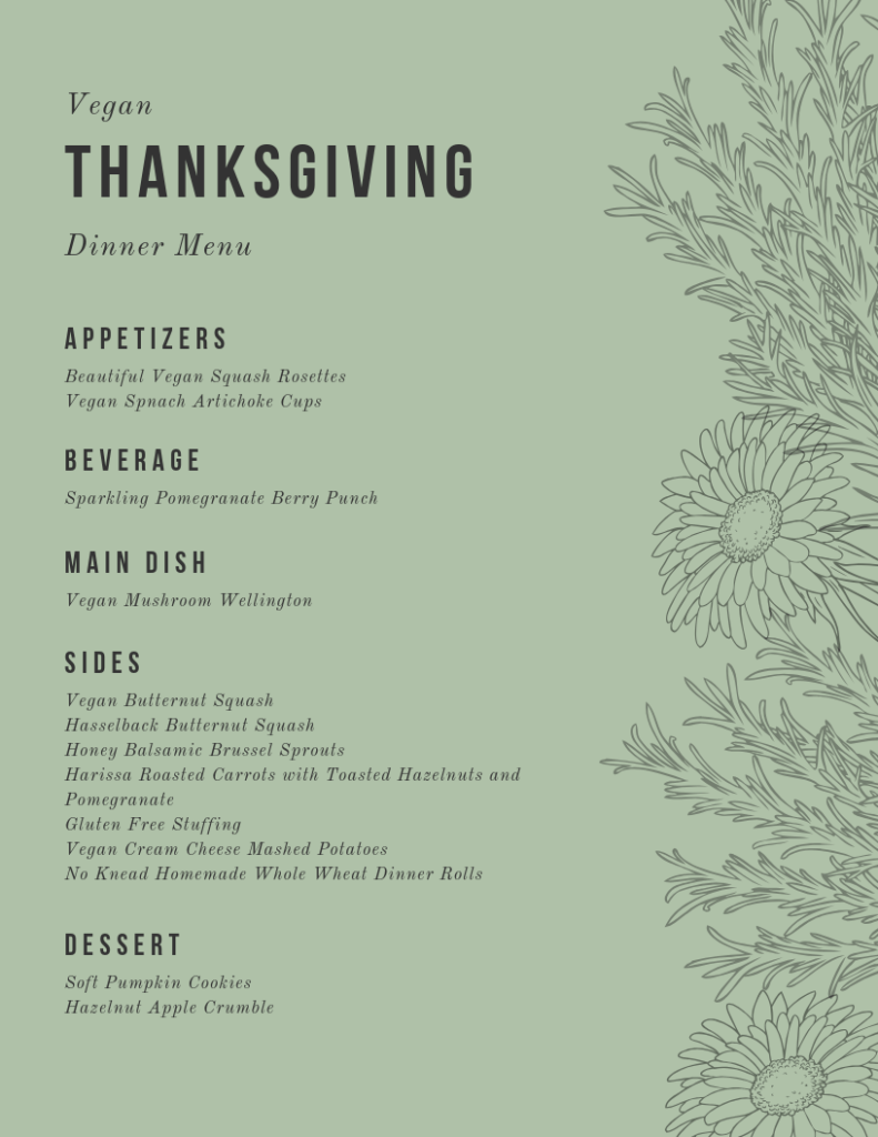 Printable Menu for Vegan Thanksgiving
