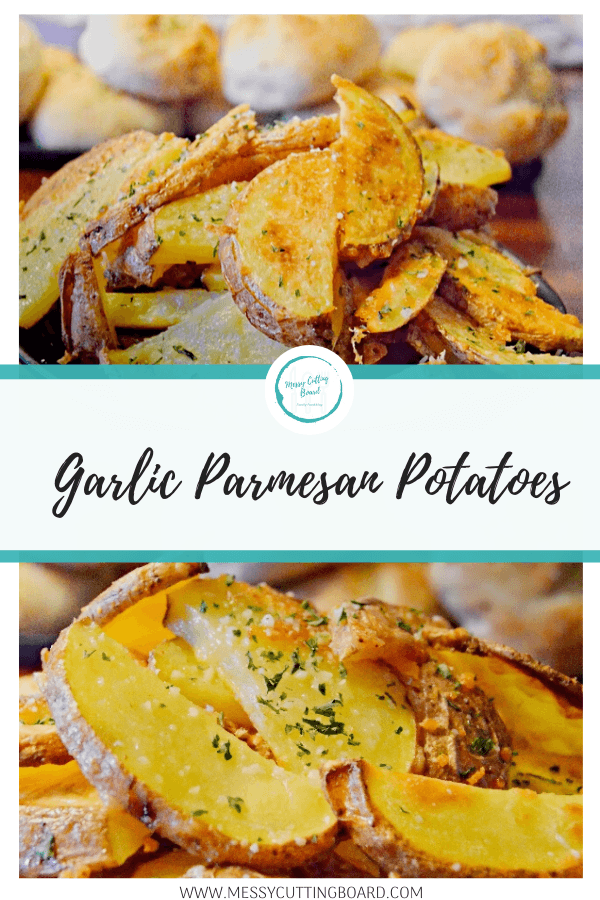 Pinnable image for garlic Parmesan potatoes