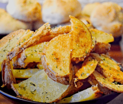 Bowl full of Garlic Parmesan Potatoes