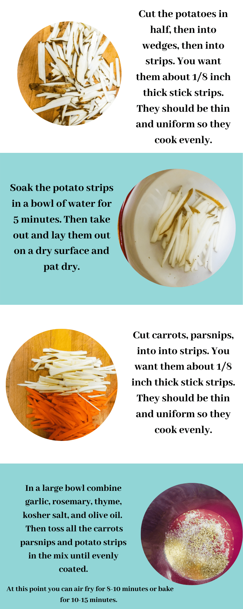 How to make parsnip carrot fries picture steps