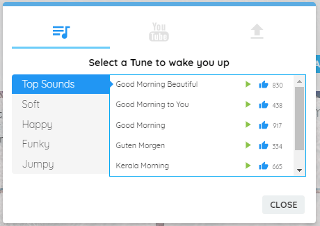 Alarm clock tune window - select a tune