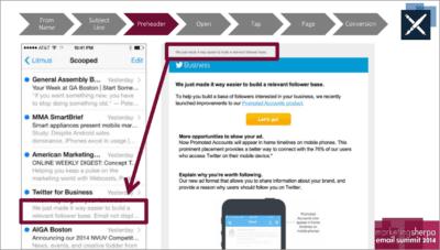 Aperçu du texte dans le domaine du marketing par courrier électronique
