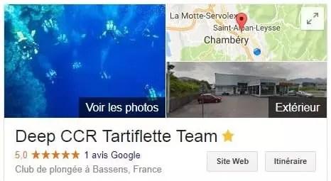 Google Map résultat de Deep CCR Tartiflette Team