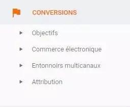 option de conversions dans Google Analytics