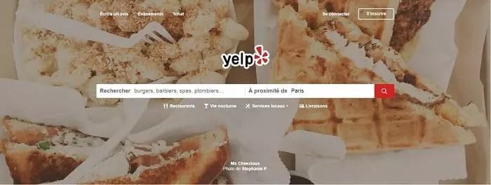 Important Site de gestion de la e-réputation : Yelp