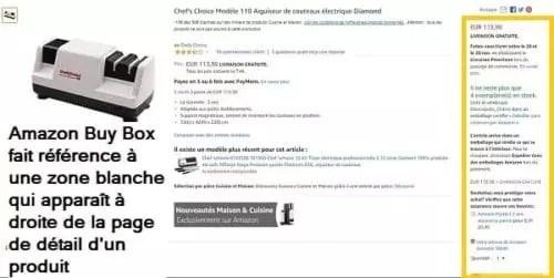 Amazon Buy Box fait référence à une zone blanche qui apparaît à droite de la page de détail d'un produit.