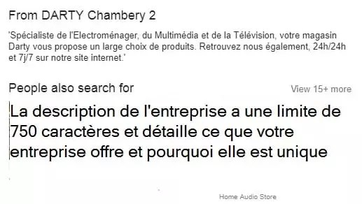 Exemple de description d'entreprise sur Google My Business