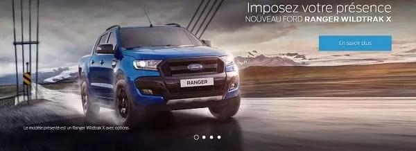 capture d'écran du site ford