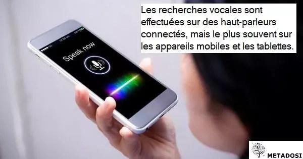 Le ratio de recherche vocale sur les appareils mobiles et à haut-parleur intelligent