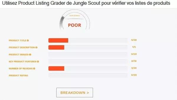 Une capture d'écran des résultats de la niveleuse de produits de Jungle Scout, qui aide à l'optimisation du référencement amazon