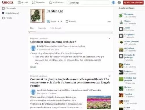 Questions sur le jardinage sur Quora