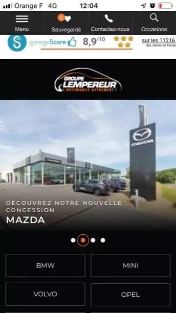 Site internet automobile mobile Groupe Lempereur