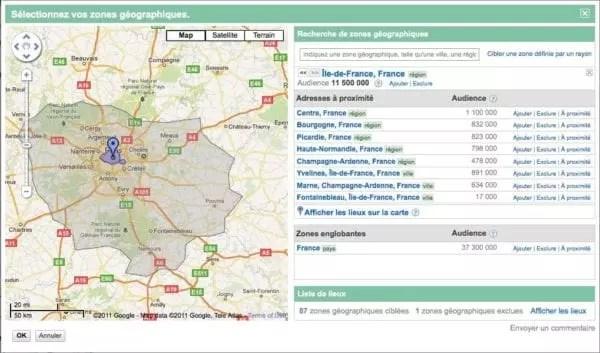 Une capture d'écran des options de ciblage géographique Google Ads