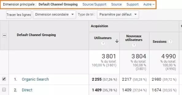 Une capture d'écran des options de dimension principale dans Google Analytics